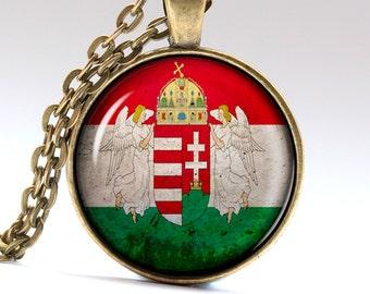 Hungary Jewelry Budapest Necklace Flag Pendant Hungary Necklace Necklaces Pendants Hungary Flag LG440