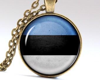 Estonia Necklace Estonian Pendant Flag Jewelry Estonia Flag LG408