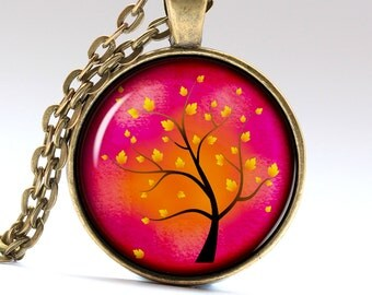 Red tree jewelry Autumn Tree necklace  Family tree Pendant Tree Pendant Tree Jewelry Family Necklace Family jewelry LG276