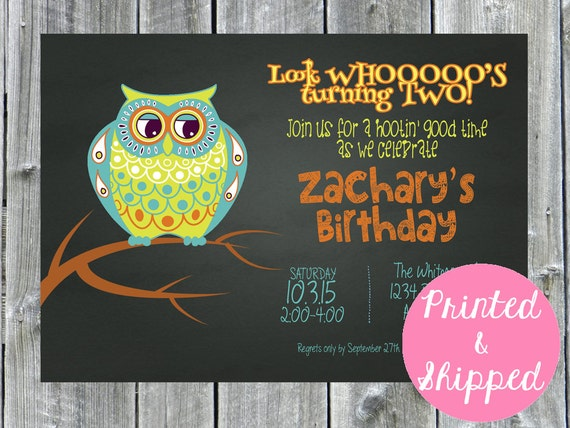 owl birthday party invitation chalkboard invitation boy party