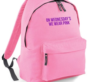 On Wednesday's We Wear Pink Backpack Back to School Street Bag Ruck Sack