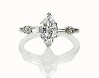 Circa 1950s Marquise Engagement Ring