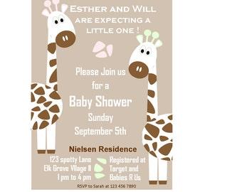 Giraffe invitations, gender neutral Baby Shower invitation, giraffe baby shower with back print, neutral color,  Printable invitations