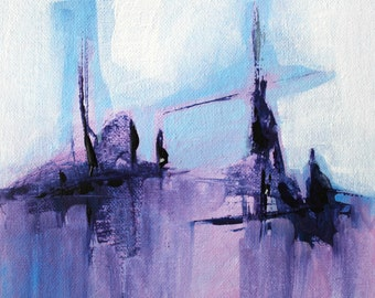Violet Painting Abstract landscape Abstract painting Blue painting Modern abstract art Acrylic painting Abstract wall art Original art work