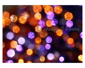 abstract Photography, purple and orange Bokeh print