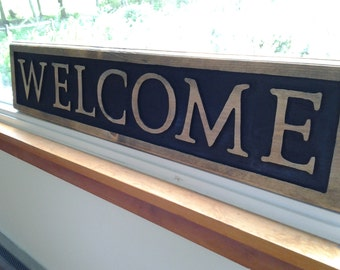 "Handmade wooden ""WELCOME"" sign"