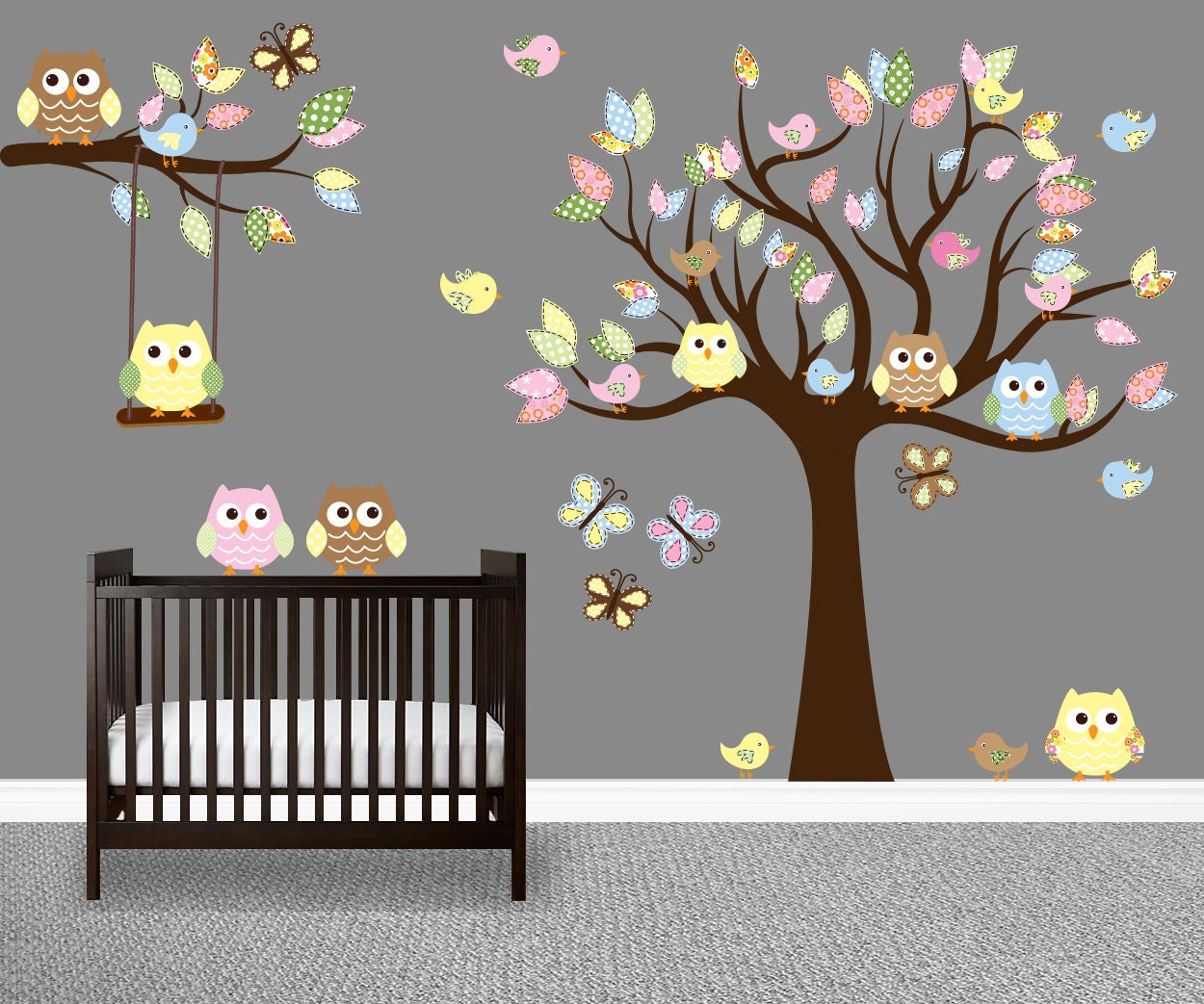 owl tree decal nursery wall art owl tree wall art childrens
