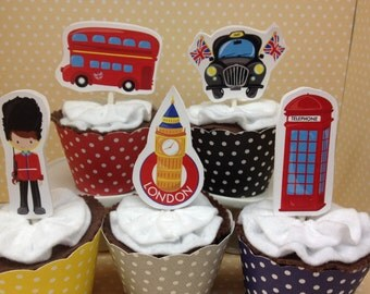 London Party Cupcake Topper Decorations - Set of 10