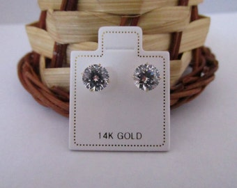 14K Solid Yellow and White Gold CZ Stud Earrings 3mm to 8mm
