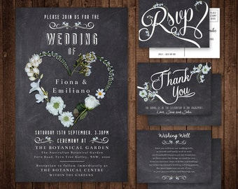 Wedding Invitation Set with RSVP, Thank you card and Wishing Well