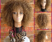 ON SALE // Kinky Curly Wig With Bangs, Short Curly Half Wig, Big Natural Afro Wig, African American Wig // TRUST2