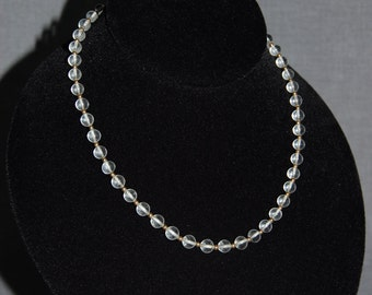 Clear Beaded Necklace ~ Vintage
