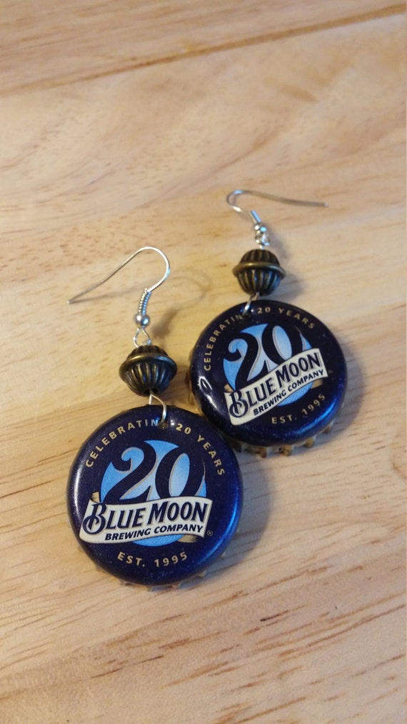 Items similar to blue moon beerings upcycled beer cap for Beer cap jewelry