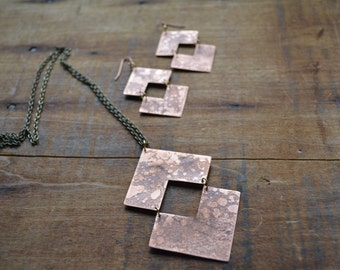 Recycled Acid Etched Copper Reflection Pendant