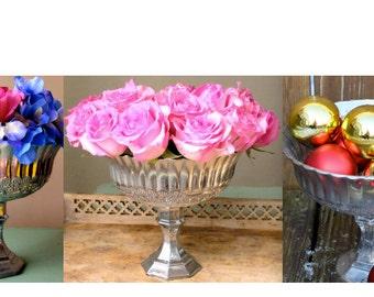 Pedestal Mercury Glass Wedding Centerpiece Centrepiece Home Decor Floral Vase Candleholder Flower Weddings Candle Holder Votive Votives