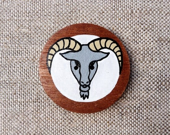 Capricorn Zodiac Sign Hand Painted Wooden Button with Zodiac Symbol Capricorn, Astrology Art Capricorn Picture, Capricorn Painting
