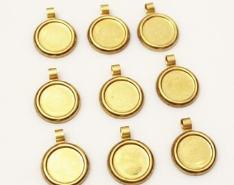 Round Brass Blanks Pendants Made in USA, Geometric Findings, Brass Stamping,Vintage Jewelry Components (FDS-113)