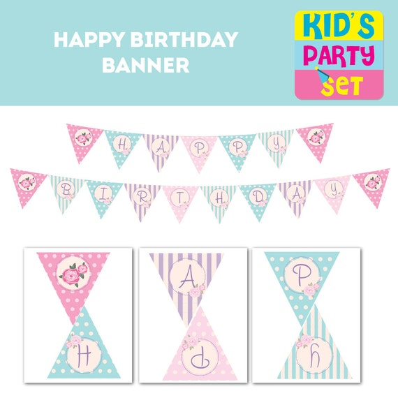 Printable Vintage Birthday Banner ~ Happy birthday shabby chic banner vintage party