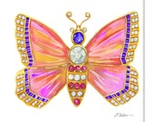 Butterfly Brooch Watercolor Rendering in Yellow Gold with Opals, Amethysts, Diamonds, and Pink Sapphires printed on Canvas