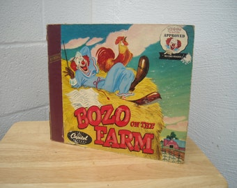 Bozo the Clown on the Farm LP Record and Storybook Set