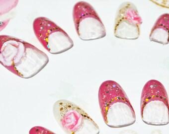Japanese kawaii 3D nail art false nail, fake nails, wedding nails, red,white, 3D roses, 3D flowers, gold glitter, lolita accessory, fairykei