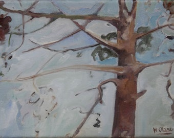 B039 Nature and Woods Collection windy tree oil painting modern contemporary art oil on canvas Autumn falling leaves windy tree woodlands