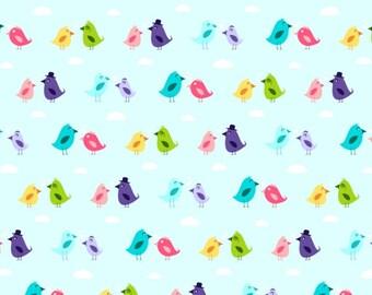 Cotton Fabric Sweet Birds - Blue, Turquise, Pink, Green - Yard, Fat Quarter