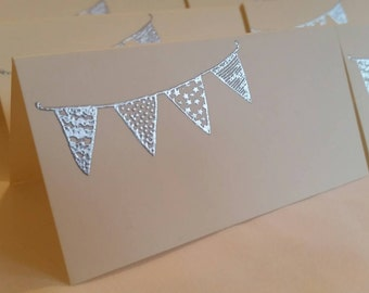 Handmade embossed place cards - pack of 6