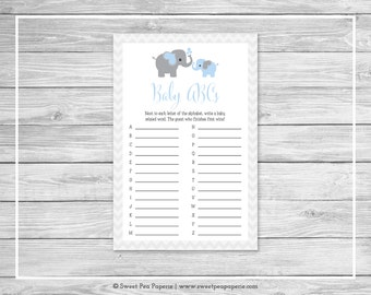 Elephant Baby Shower Baby ABCs Game - Printable Baby Shower Baby ABCs Game - Blue and Gray Elephant Baby Shower - Baby ABCs Game - SP102