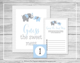 Elephant Baby Shower Guess The Mess Game - Printable Baby Shower Guess The Sweet Mess Game - Blue and Gray Elephant Baby Shower - SP102