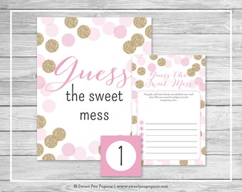 Pink and Gold Baby Shower Guess The Mess Game - Printable Baby Shower Guess The Sweet Mess Game - Pink and Gold Glitter Baby Shower - SP106