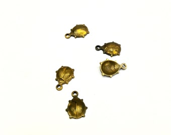 28 Pieces Small Lady Bug Charms, Raw Brass, Vintage, 8x10mm