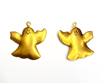 5 Pieces Ghost Pendants, Raw Brass, Halloween, 24x25mm