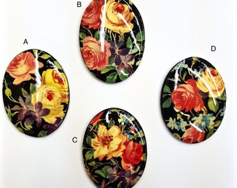 1 Piece Floral Limoge (Choose out of 4 Styles), Glass, Vintage, 29x39mm Oval