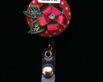Valentine Love Blossom -Nurse Retractable ID Badge Reel/ RN Badge Holder/Doctor Badge Reel/Nurse Badge Holder/Nursing Student Gift