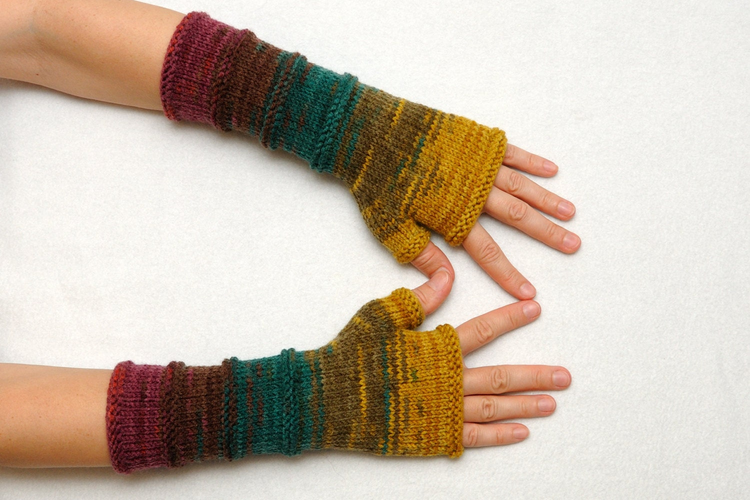 Knit Fingerless glove mitten Long knit by PrettyCrochetForYou