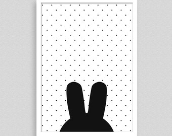 Black and white kids print unframed, A4, A3, Rabbit on dotted background, black and white kids art poster, kids bedroom, nursery decor