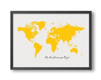 World map print-10, size A1 A2 A3 A4, world map kids wall art, kids bedroom decor, nursery prints, world map poster