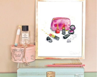 Wall print vanity poster makeup watercolor glam 8x10 INSTANT DOWNLOAD