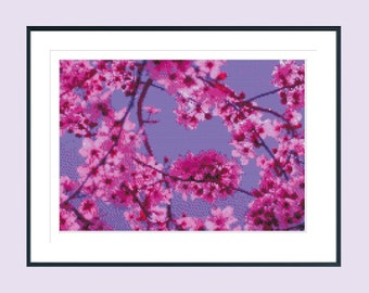 Cross stitch pattern, modern cross stitch pattern, flower cross stitch pattern, pink spring blossoms, blossom cross stitch, instant download