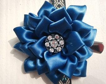 Flower Hair Clip, Vintage, Handmade, Fabric Flower, Clip, Flower Girl Accessory