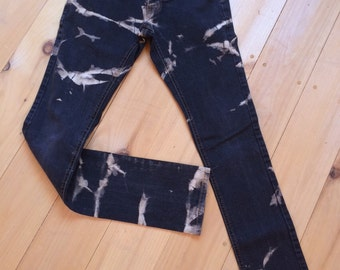 Bleach dyed black denim jeans size 28