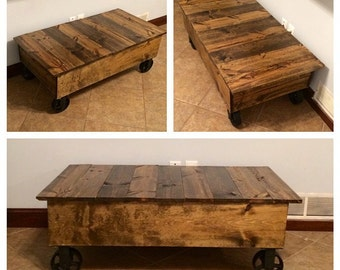 Industrial Cart Table - Reclaimed Wood Handmade, Rustic!