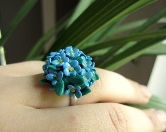 Blue flower ring, Polymer clay cute, Spring accessoire, pretty flower ring, jewelry summer