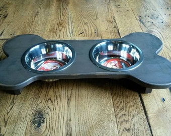Small Bone-Shaped Dog Food Stand with Stainless Steel Bowls