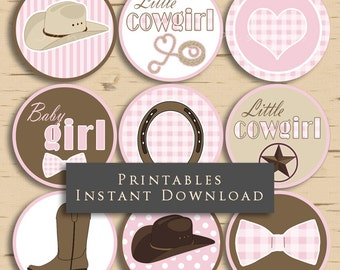Little Cowgirl Baby Shower Cupcake Toppers Party Printables Pink and Brown DIY Printable INSTANT DOWNLOAD