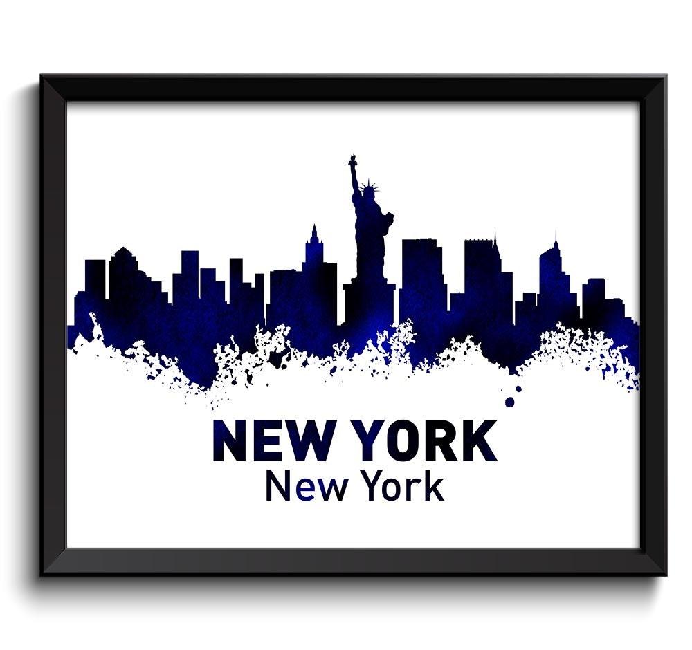 Watercolor New York: New York Skyline City Navy Blue Black Watercolor Cityscape