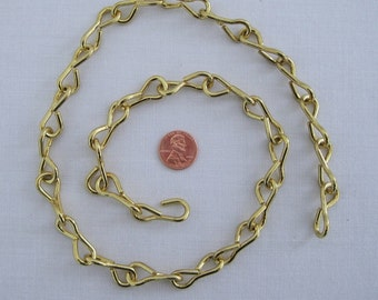 10 Ga. BRASS on Steel Chain for Hanging  STAINED GLASS Sun Catchers, Pictures, Lamps, etc. . . 1 - 2 Foot Piece...