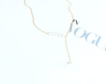 Gold Pearl Pendant Necklace 925 Silver Pearl Chain Pendant Necklace Simple Elegant Everyday Pendant Wedding Bridal Bridesmaid Birthday Gift