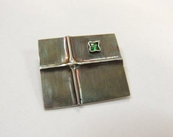 Sterling silver emerald abstract brooch